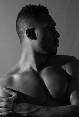 IMG_6144 ONE SIDE (WORLD OF FMR) Tags: shadow noiretblanc blinkagain blackandwhite black blackmodel shape ombre canon shooting photography people muscle light studio pec fit shoulder workout lips