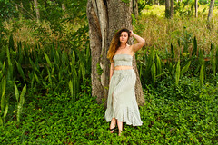 Mother Nature (ixorasmomma) Tags: summer florida girl young woman dress blue white outdoors water nature happy green trees leaves long longhair brunette