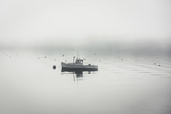 Moored in the Fog (jessicalowell20) Tags: sheepscotriver august black blackandwhite boat buoys estuary fog gray maine monochromatic mooring morning newengland northamerica summer white wiscasset wiscassetbay workingwaterfront