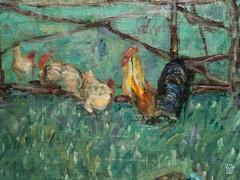 Le Grand Jardin (detail) (sylvain.collet) Tags: france peinture art jardin lesnabis animaux enclos coq poule