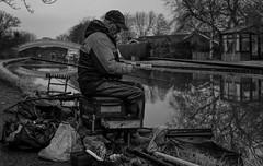 Fishing (M. J. Black) Tags: lancastercanal canal waterway fish fishing fisherman fishermen angler angling mono monochrome monochromephotography bw bwphotography blackandwhite blackandwhitephotography 23mm f2 fuji fujifilmx100f fujix100f x100f northwest north lancs lancashire