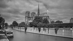 Notre Dame De Paris (romain.roussel) Tags: france paris notredame seine city blackandwhite water longexposure romantic