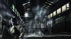 Urbex special forces - DSC02650-6 wm 16x9 2k (cleansurf2 Urbex) Tags: urbex special forces sony steel soldier smoke wallpaper warehouse leadinglines dark grime mood metal person widescreen 16x9 2k worn screensaver ilce a6000 photography old industrial indoors interior urbexer texture rustic ruin room emount exploring wideangle equipment architecture abandoned scale structure decay factory gritty figure building color colour vivid cool vanishingpoint