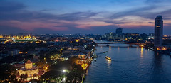 Bangkok City Scape, Thailand night. Panorama of Chao Praya River in Bangkok. View of phra Sumen fort  with grand Palace and Emerald budha temple in the background, Bangkok Thailand. 13 January 2019 : Sumsung Note9 (pomp_jaideaw) Tags: