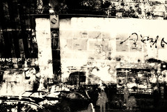 night city non stop (Pomo photos) Tags: night surreal abstract doubleexposure sepia blackandwhite blackwhite bw monochrome mono leicax1 grain lowlight evening people silhouette car building store glass reflection shadow woman mood noir details contrast brown texture