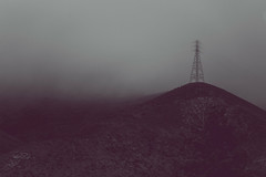 electrical tower on foggy hilltop [Day 3672] (brianjmatis) Tags: electric landscape monochrome electricity tower electrical blackandwhite photoaday moody fog hill foggy project365 sanluisobispo california unitedstatesofamerica us