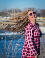 Lots of hair here! (tquist24) Tags: hww indiana mishawaka nikon nikond5300 outdoor stjosephriver twinbranchdam wanda geotagged girl hair hairflip model outside portrait pretty river smile sunglasses water woman