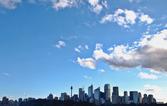 Sydney skyline (Essay Babel) Tags: olympus olympuspen cityscape cityskyline sydney australia oz city skyscraper building architecture modern architecturephotography aussie oceania sky blue clouds skies colours white colorful skyscrapers buildings buildingscape modernarchitecture modernbuilding sun sunny summer day light bright scenery skyline nsw newsouthwales photography photographypassion travel travelphotography tallbuildings color