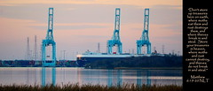 Mill Cove, Jacksonville, Florida (Humbly Serving Christ) Tags: jacksonville florida jax fl blountisland portofjacksonville jaxport cranes port ship containership freighter cargoship water reflection millcove cove stjohnsriver river industry industrial commerce trade shipping dusk sunset evening twilight pink duvalcounty urban city us usa unitedstates america