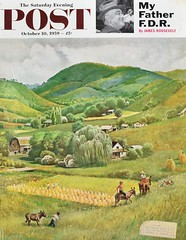 """Blue Ridge Burro Ride"" (Retro Reveries) Tags: clymer johnclymer post cover magazine landscape 1950s 50s nostalgia vintage retro mountain farm homestead kids 1959 midcentury"