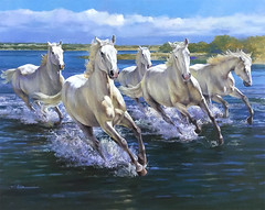 """""""Horses in Camargue"""" oil on canvas (spartaco1958) Tags: fineart art canvas horses camargue wild illustration scenery water"""