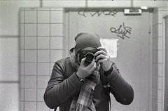 Grainy selfie (Turikan) Tags: leica m5 summicron 50mm rodinal stand dev shabby bathroom grain kodak 3200