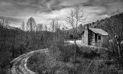 Allegany Baptist Church_BW (Bob G. Bell) Tags: church logchurch abandoned monroe bw clouds dirtroad bobbell nikon d750 wv lindside greenville