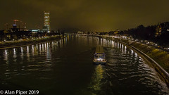 River Rhein at Basel (PapaPiper) Tags: rhein riverrhein basel night nightscene nightscape switzerland river riverscape ship barge transport perspective