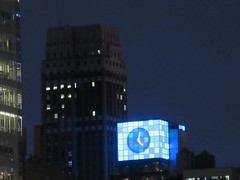 2018 Christmas Eve Virtual Clock Tower NYC 8334 (Brechtbug) Tags: 2018 christmas eve virtual clock tower ny times building night rooftop sign nyc 12242018 new york city green blue tile art deco buildings clouds lights evening publishing scape skyline mcgrawhill nite
