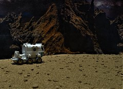 Skirting The Dielat Mountains on Mars. (ManOfYorkshire) Tags: diecast scale model 164 nasa chariot sev mars diorama mountains 6wheel sciencefiction scifi rover explore exploration vehicle pressurised detailed painted