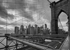 View on Manhattan from Brooklyn Bridge (azhukau) Tags: newyork manhattannewyorkcity manhattan brooklynbridge traveldestination tourism cityscape architecture buildings downtowndistrict downtown steel monochrome blackandwhite bridge river