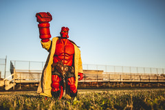 Don't You Forget About Me (3rd-Rate Photography) Tags: hellboy thebreakfastclub hellboyday breakfastclubday mikemignola johnhughes toy toyphotography mezco canon 5dmarkiii 1635mm jacksonville florida 3rdratephotography earlware goldenhour