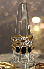 2019 Macro Mondays: Jewelry (dominotic) Tags: 2019 macromondays jewelry rings gold diamond sapphire crystalringstand jewellery bokeh circle macro sydney australia