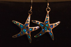 Blue Starfish Earrings (Someone's Name) Tags: macromondays macromonday jewelry earrings blue opal shiny luster lustre crystal