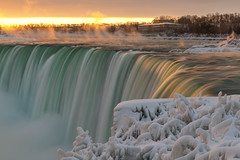 Winter Sunrise at Niagara Falls II (B.E.K. Photography) Tags: niagara falls sunrise steam fog mist snow ice orange green morning winter canada ontario landscape outdoor nikond850 nikon2470f28 water waterfall horseshoe river sky