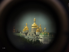 Through the Looking-Glass (jip_and_elsewhere) Tags: kiev kiew kyiv lavra kievpechersklavra telscope graphoskop monastery church gold green woods zoom