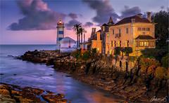 Cascais, lighthouse and villa, Portugal (AdelheidS Photography) Tags: bluehour adelheidsphotography cascais portugal
