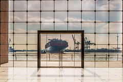 ship in the front door (Fotos aus OWL) Tags: hamburg hafen hafenhamburg cosco coscotaurus architekture architecture door tür glas fassade tollerort terminal