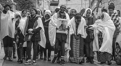 some photos don't need a title (ybiberman) Tags: israel jerusalem ethiopianchurch ethiopiancathedral funeral women portrait candid streetphotography white people grief crying photo bw veil mourning