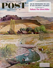 """Swimming in the Creek"" (Retro Reveries) Tags: clymer johnclymer post cover magazine landscape 1950s 50s nostalgia vintage retro mountain farm homestead kids 1959 creek swimming midcentury"