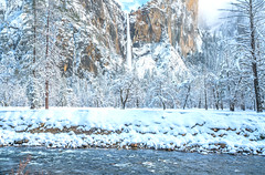 Yosemite Winter Bridalveil Falls Merced River Bridalveil Falls Blue Skies Snow Winter Photography! Sony A7R III & FE 16–35 mm G Master Wide-Angle Zoom Lens SEL1635GM Winter Snow Fine Art!  Yosemite National Park Winter Snow California Landscape Photos (45SURF Hero's Odyssey Mythology Landscapes & Godde) Tags: fine art landscape photogaphy california photography el state elliot mcgucken sunset afs ed high res 4k 8k yosemite valley view capitan merced river bridalveil falls blue skies snow winter sony a7r iii fe 16–35 mm g master wideangle zoom lens sel1635gm national park