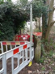 Footpath closed (karenblakeman) Tags: caversham uk hillsmeadow footpath barrier trees floodalleviationscheme march 2019 reading berkshire