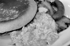 breakfast pancake scramble egg, bacon, sausage RICOH GR 18 (HAMACHI!) Tags: tokyo 2019 japan ricoh ricohgriii ricohimaging ricohgr gr gr3 griii loadtest cameratest monochrome blackandwhite shibuya breakfast pancake scrambleegg