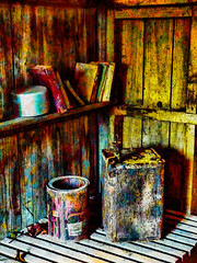 Keep Your Lid On (Steve Taylor (Photography)) Tags: saucepan oilcan can shed books digitalart architecture colourful paint wood newzealand nz southisland canterbury christchurch texture shelf tins