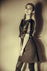 Ulya (donnicky) Tags: monochrome ulyaipatova beautifulwoman blackclothing elegant fashion girl indoors leather lookingatcamera oneperson onlywomen portrait posing publicsec sepia shadow skirt studioshot wall