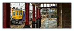 Caught behind bars (david.hayes77) Tags: merseyside earlestown 2019 winter 2a95 class319 northern 319374 liverpoolandmanchesterrailway lm newtonlewillows northwest architecture station building pano panorama emu victorian victoriana 1835