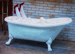 Bath Time Fun (Steve Taylor (Photography)) Tags: bath bubbles legs stilettos redshoes design digitalart door wall blue brown red white brick woman lady asia city singapore texture