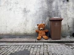 happy bear (chrisinplymouth) Tags: bear city uk england abandoned wall alley pavement plymouth ground bin devon backlane cw69x cuddlytoy softtoy wheelybin urb xg