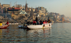 Varanasi, India (Ninara) Tags: hindu india varanasi holycity crematorium ghat ganges boatride water boat steps uttarpradesh kashi benares manikarnikaghat