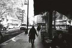 London (goodfella2459) Tags: nikonf4 afnikkor24mmf28dlens kodaktrix400 35mm blackandwhite film analog city streets pedestrians london bus reflection bwfp