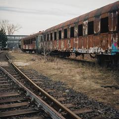 Płaszów (Akysz!) Tags: color colorful trains train analog square mamiya mamyiac330s kodak kodakportra analogpgotography 6x6