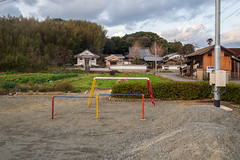 Evening of a public hall. (Yasuyuki Oomagari) Tags: colors ironbar parking publichall temple rural village old country countryside evening peace peaceful calm landscape nikon d850 zeiss distagont225 japan kyushu fukuoka 日本 九州 福岡県 風景写真 公民館 お寺 鉄棒 色