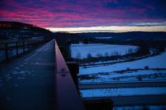 Burning Sky - Salisbury Viaduct (benpsut) Tags: bridge dawn landscape pink salisburyviaduct sky snow sunrise westernmarylandsalisburyviaduct winter beautiful bluehour burningsky morning pinksky purplesky