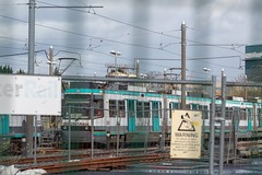 Metrolink 2001 (Mike McNiven) Tags: manchester metrolink tram lightrail lrv trafford oldtrafford depot rail tracks fence