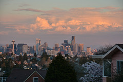 Magnolia Sunset Views 14 (C.M. Keiner) Tags: seattle washington usa city cityscape skyline mountains pacific northwest puget sound sunset magnolia hills clouds spring cherry blossoms