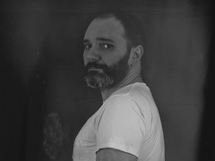 insomniac self (theoswald) Tags: selfportrait self blackandwhite blackandwhitephotography beard eyes moody male