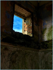 What light through yonder window breaks? (JulieK (thanks for 8 million views)) Tags: bleakhouse hww wall window interior derelict iphonese wexford ireland irish building stone ruin 2019onephotoeachday texture bricks bluesky
