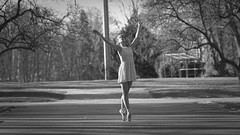 ballet in the park (frax[be]) Tags: ballerina ballet dancer fuji 90mm composition poetry outdoor xe3 woman fineart dof park blackandwhite bw noiretblanc monochrome