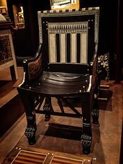 Child's chair and footstool made of ebony inlaid with ivory 18th dynasty New Kingdom Egypt (mharrsch) Tags: kingtut tutankhamun artifact treasure exhibit tomb egypt 18dynasty newkingdom discoveryofkingtut omsi oregonmuseumofscienceandindustry portland oregon mharrsch