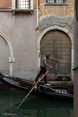 Gondolier (Pia Räisänen) Tags: venice gondola gondolier travel canal italy people man street water city old wall boat
